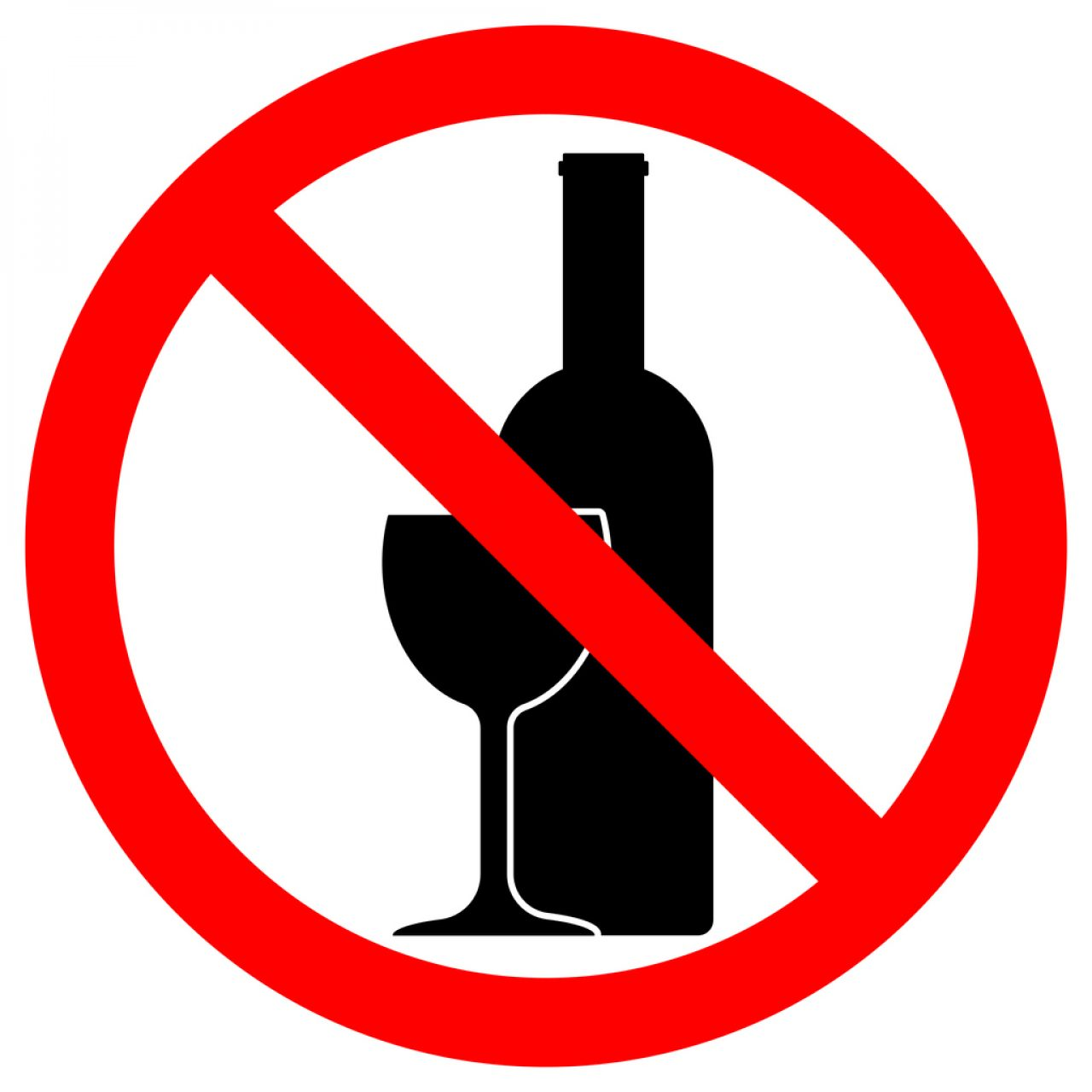 ALCOHOL FREE ZONE sign. Wine bottle and glass icons in crossed out red circle. Vector.