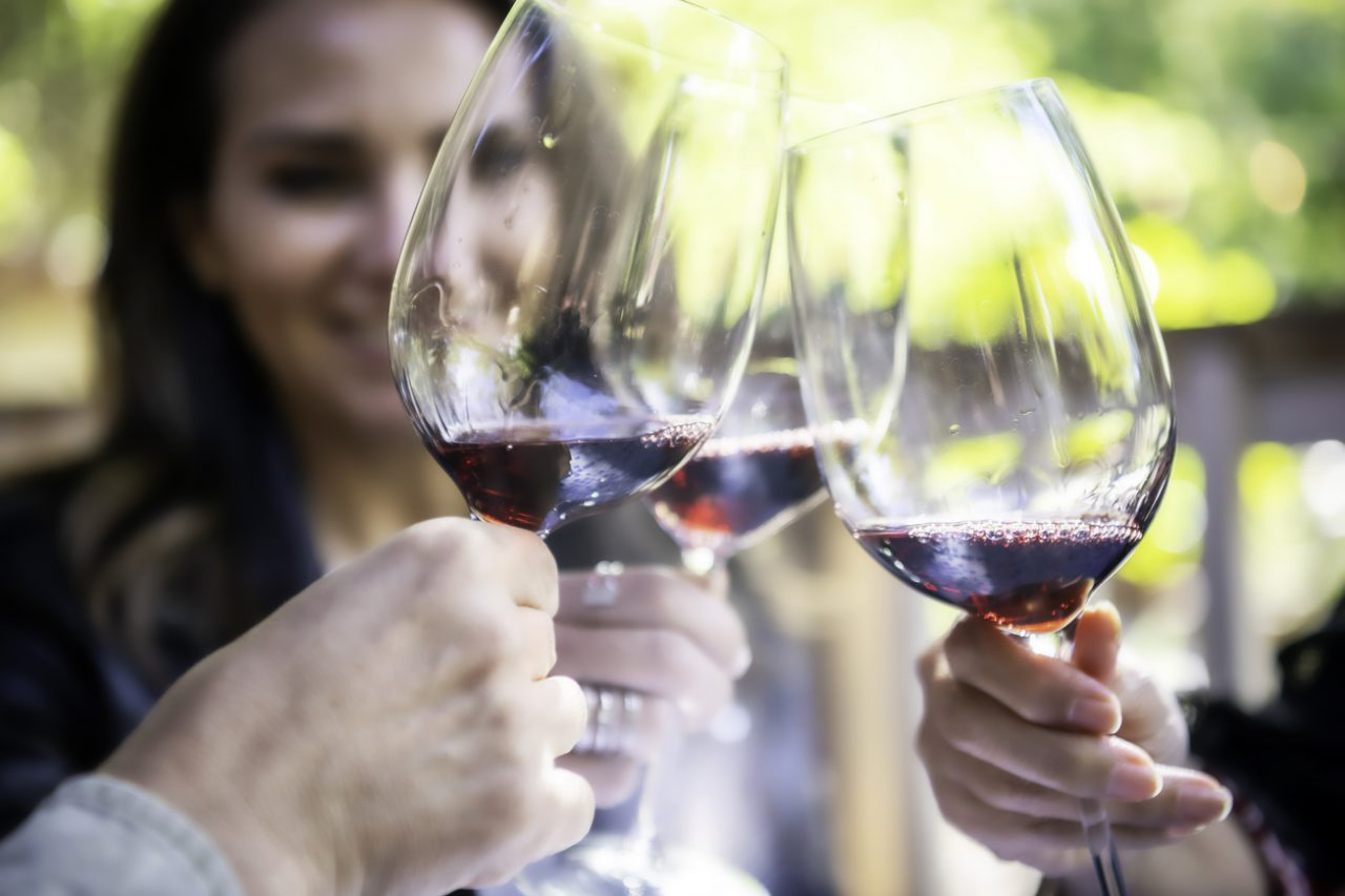 mature women toasting with red wine